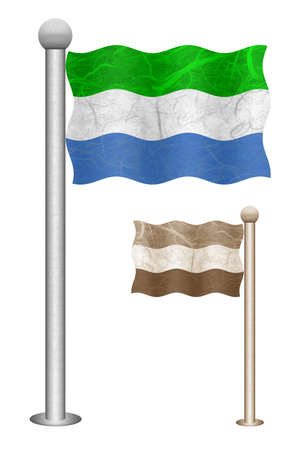 Sierra Leone flag waving on the wind. Flags of countries in Africa. Mulberry paper on white background.