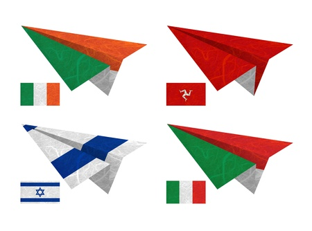 Nation Flag. Airplane recycled paper on white background. ( Ireland , Isle of Man , Israel , Italy ) photo