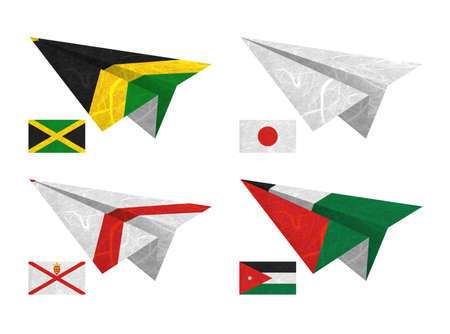 Nation Flag. Airplane recycled paper on white background. ( Jamaica , Japan , Jersey , Jordan ) photo