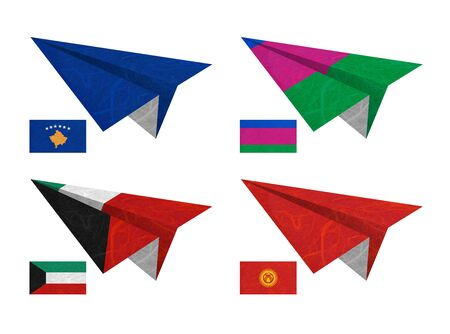 Nation Flag. Airplane recycled paper on white background. ( Kosovo, Kuban Peoples Republic , Kuwait , Kyrgyztan ) photo