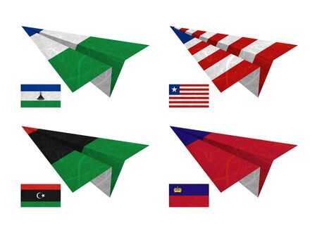 Nation Flag. Airplane recycled paper on white background. ( Lesotho , Liberia , Libya , Liechtenstein ) photo