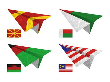 Nation Flag. Airplane recycled paper on white background. ( Macedonia , Madagascar , Malawi , Malaysia ) photo