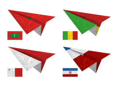 Nation Flag. Airplane recycled paper on white background. ( Maldives , Mali , Malta , Mari El ) photo