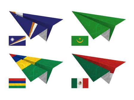 Nation Flag. Airplane recycled paper on white background. ( Marshall Islands , Mauritania , Mauritius , Mexico ) photo