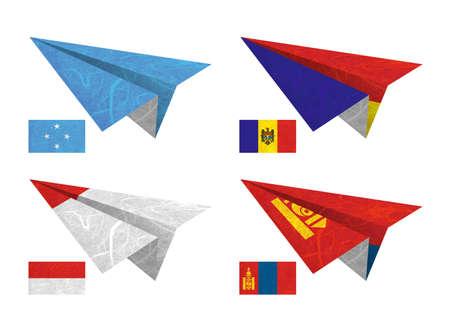 Nation Flag. Airplane recycled paper on white background. ( Micronesia Federated States , Moldova , Monaco , Mongolia ) photo