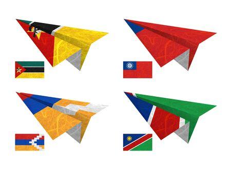 Nation Flag. Airplane recycled paper on white background. ( Mozambique , Myanmar , Nagorno-Karabakh Republic , Namibia ) photo