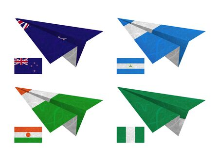 Nation Flag. Airplane recycled paper on white background. ( New Zealand , Nicaragua , Niger , Nigeria ) photo