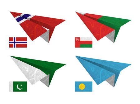 Nation Flag. Airplane recycled paper on white background. ( Norway , Oman , Pakistan , Palau ) photo