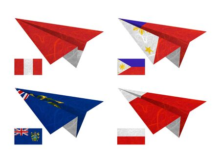 Nation Flag. Airplane recycled paper on white background. ( Peru , Philippines , Pitcairn Islands , Poland ) photo