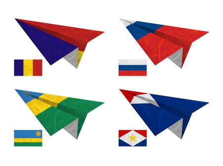 Nation Flag. Airplane recycled paper on white background. ( Romania , Russia , Rwanda , Saba ) photo