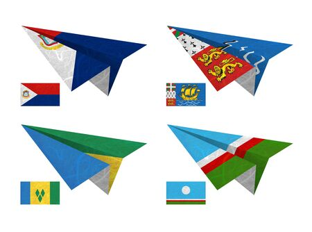 pierre: Nation Flag. Airplane recycled paper on white background. ( Saint Martin , Saint Pierre and Miquelon, Saint Vincent and the Grenadines , Sakha Republic )