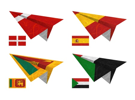 Nation Flag. Airplane recycled paper on white background. ( Sovereign Military Order of Malta , Spain , Sri Lanka , Sudan ) photo