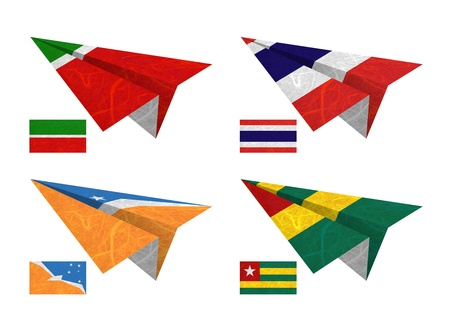 Nation Flag. Airplane recycled paper on white background. ( Tatarstan , Thailand , Tierra del Fuego Province - Argentina , Togo ) Stock Photo - 14155513