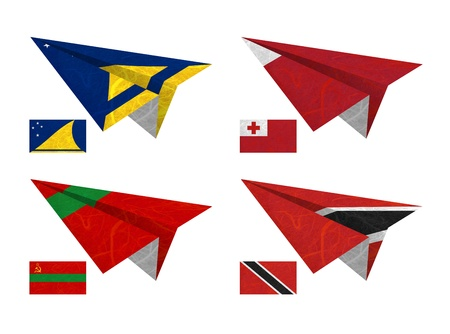 Nation Flag. Airplane recycled paper on white background. ( Tokelau , Tonga , Transnistria , Trinidad and Tobago ) photo