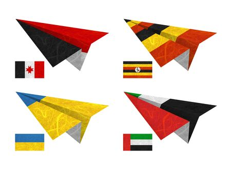 Nation Flag. Airplane recycled paper on white background. ( Udmurtia , Uganda , Ukraine , United Arab Emirates ) photo