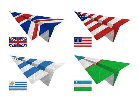 Nation Flag. Airplane recycled paper on white background. ( United Kingdom , United States of America , Uruguay , Uzbekistan )