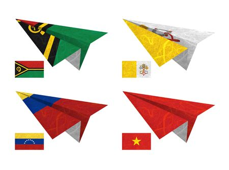 Nation Flag. Airplane recycled paper on white background. ( Vanuatu , Vatican City State , Venezuela , Vietnam ) photo