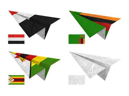 Nation Flag. Airplane recycled paper on white background. ( Yemen, Zambia , Zimbabwe , White Blank ) photo