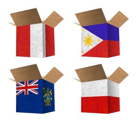 bandera peru: Estado del pabell�n. Caja de papel reciclado en el fondo blanco. (Per�, Filipinas, Islas Pitcairn, Polonia)