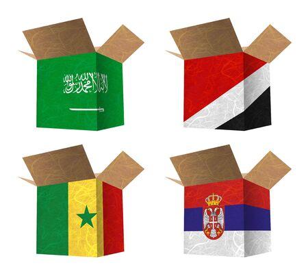 sealand: Nation Flag. Box recycled paper on white background. ( Saudi Arabia , Sealand Principality , Senegal , Serbia )