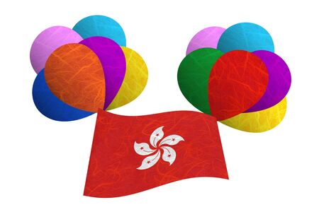 Hong Kong flag balloon on the wind. Mulberry paper on white background. Stock Photo - 14133234