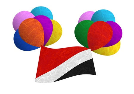 sealand: Sealand Principality flag balloon on the wind. Mulberry paper on white background. Stock Photo