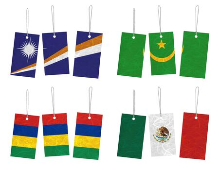 Nation Flag. Tag recycled paper on white background. ( Marshall Islands , Mauritania , Mauritius , Mexico ) Stock Photo - 14150669