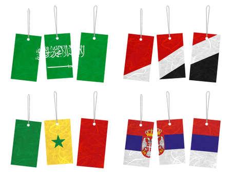 sealand: Nation Flag. Tag recycled paper on white background. ( Saudi Arabia , Sealand Principality , Senegal , Serbia ) Stock Photo