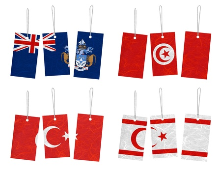 Nation Flag. Tag recycled paper on white background. ( Tristan da Cunha , Tunisia , Turkey , Turkish Republic of Northern Cyprus ) Stock Photo