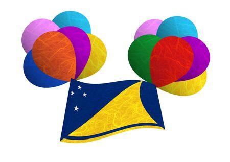 tokelau: Tokelau flag balloon on the wind. Mulberry paper on white background. Stock Photo