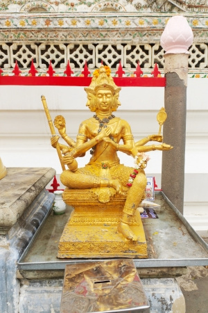 Beautiful golden Brahma statue, Wat Arun Wararam in Thailand.  Stock Photo