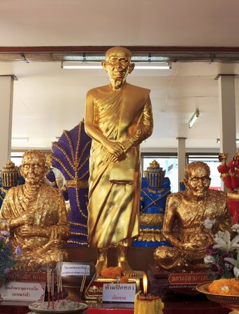 Clergy statue in Wat Sman Rattanaram in Chachoengsao province at thailand