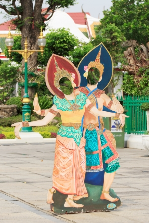 Painting of thai Dance at Wat Arun wararam, thailand.