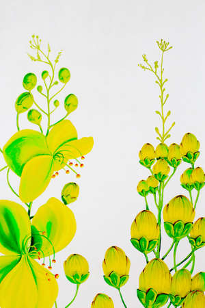 Painting on the wall with cassia flower pattern. photo