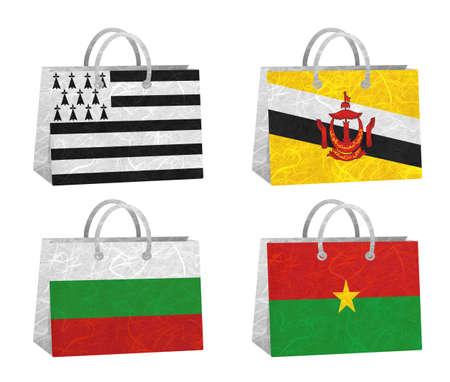 brunei darussalam: Nation Flag. Bag recycled paper on white background. ( Brittany , Brunei Darussalam , Bulgaria , Burkina Faso )