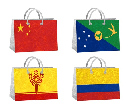 Nation Flag. Bag recycled paper on white background. ( China , Christmas Island , Chuvashia , Colombia ) photo