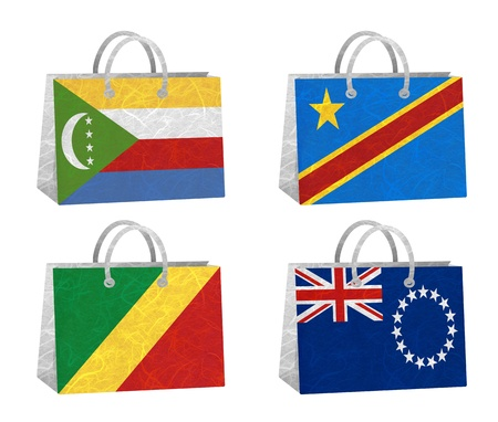 democratic republic of the congo: Nation Flag. Bag recycled paper on white background. ( Comoros , Congo Democratic Republic , Congo Republic , Cook Islands)