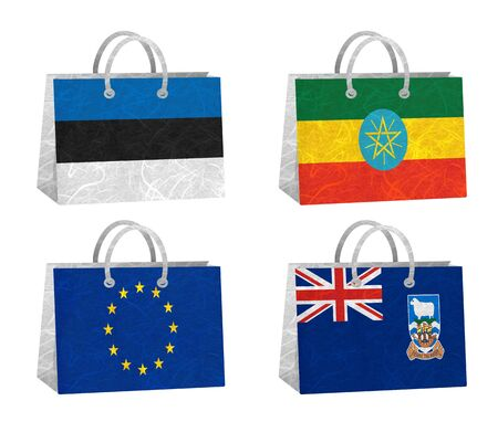 Nation Flag. Bag recycled paper on white background. ( Estonia , Ethiopia , European Union , Falkland Islands ) photo