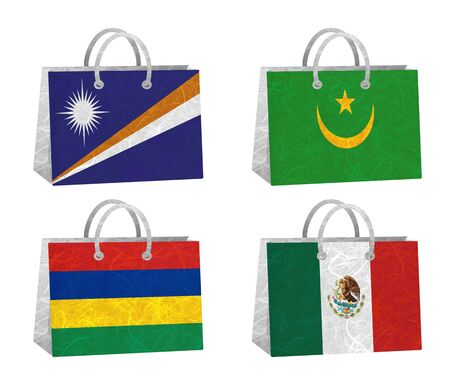 Nation Flag  Bag recycled paper on white background    Marshall Islands , Mauritania , Mauritius , Mexico   photo
