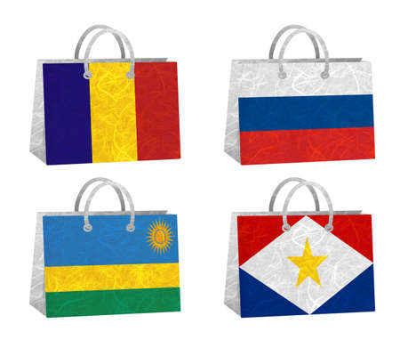 Nation Flag. Bag recycled paper on white background. ( Romania , Russia , Rwanda , Saba ) photo