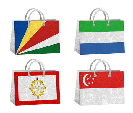 Nation Flag. Bag recycled paper on white background. ( Seychelles , Sierra Leone , Sikkim , Singapore )