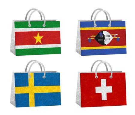 Nation Flag. Bag recycled paper on white background. ( Suriname , Swaziland , Sweden , Switzerland ) photo
