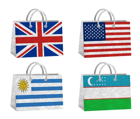 Nation Flag  Bag recycled paper on white background    United Kingdom , United States of America , Uruguay , Uzbekistan   photo