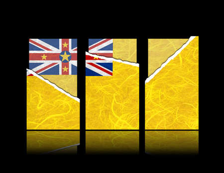 niue: Niue flag of tear paper with gift cards  Mulberry paper on black background  Stock Photo