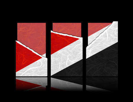 sealand: Sealand Principality flag of tear paper with gift cards. Mulberry paper on black background.