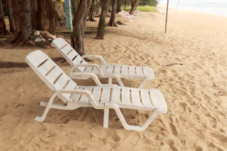 Beach chair on the beach at Baankrood, thailand. Stock Photo