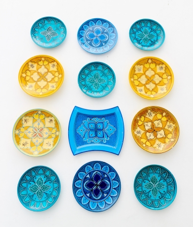 Colorful ceramics or porcelain on the wall