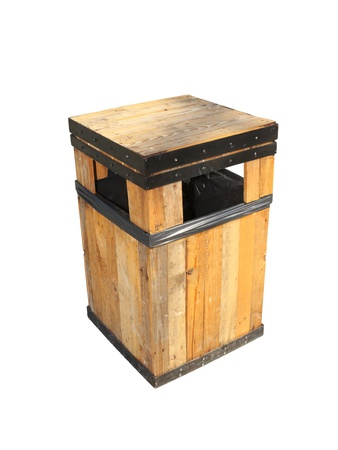 A wooden public trash in the shopping center  Stock Photo