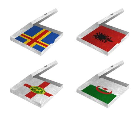 Nation Flag. Box recycled paper on white background. ( Aland , Albania , Alderney , Algeria ) Stock Photo