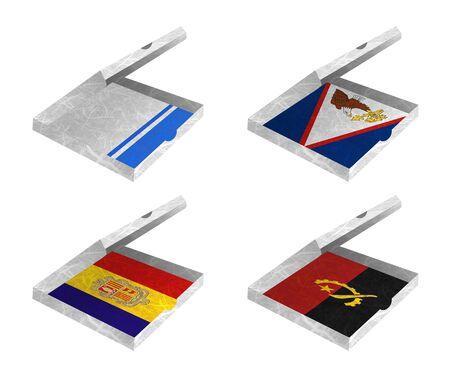 altai: Nation Flag. Box recycled paper on white background. ( Altai Republic , American Samoa , Andorra , Angola )